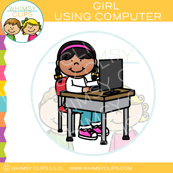 Girl Using Computer At Desk Clip Art