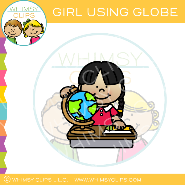Girl Using Globe Clip Art