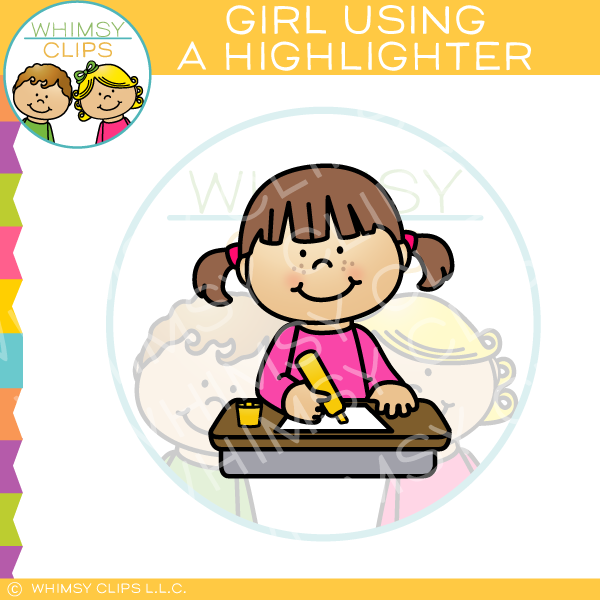 Girl Using a Highlighter Clip Art