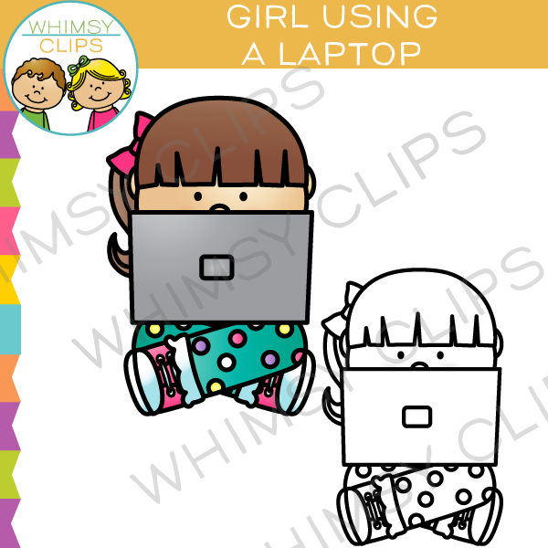 Girl Using Laptop Clip Art