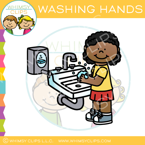 Girl Washing Hands Clip Art