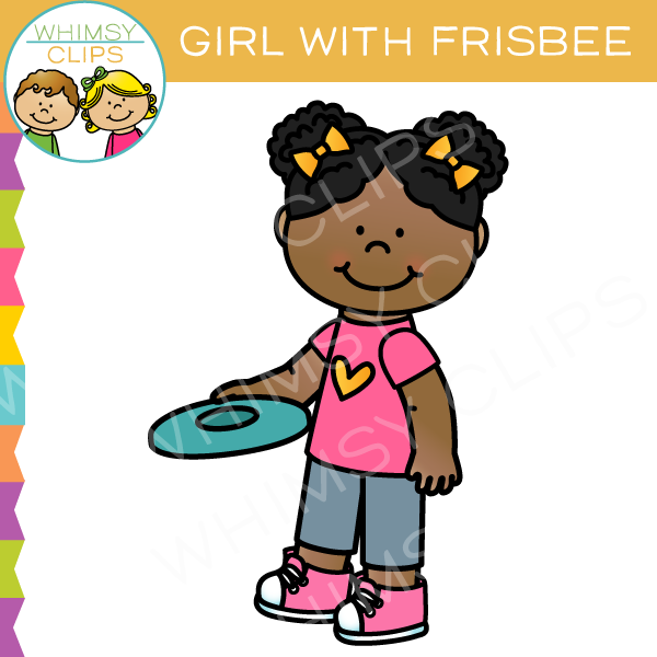 Girl with a Frisbee Clip Art