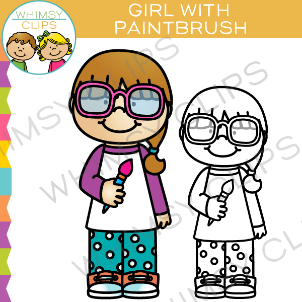 Girl with Paintbrush Art Class Clip Art