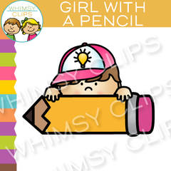 Free Girl With Pencil Clip Art