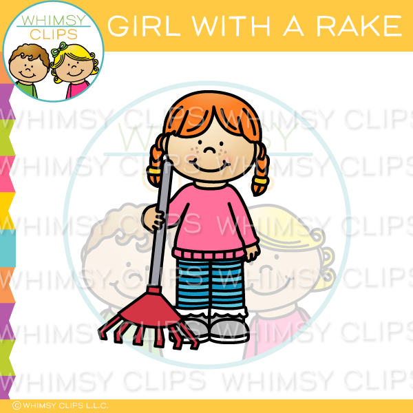 Girl With A Rake Clip Art