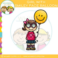 Girl with a Smiley Face Balloon Clip Art