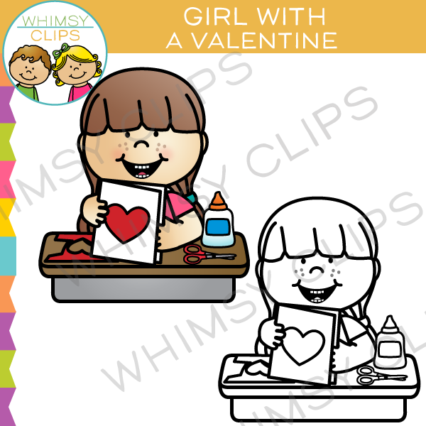 Girl with a Valentine Clip Art