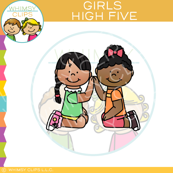 Girls Giving High-Five Clip Art
