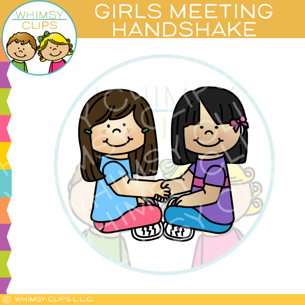 Girls Shaking Hands Clip Art