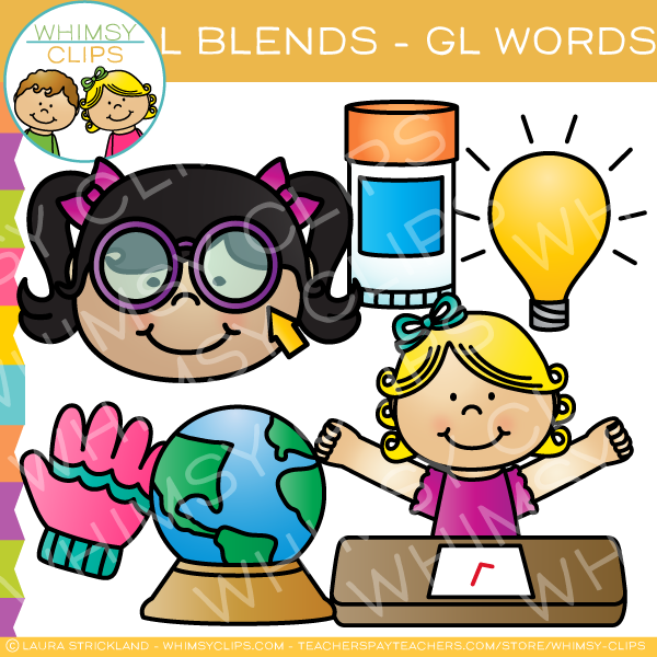 L Blends Clip Art - GL Words - Volume One