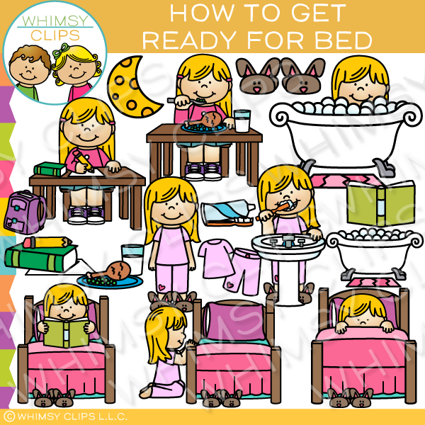 How to Get Ready for Bed Clip Art