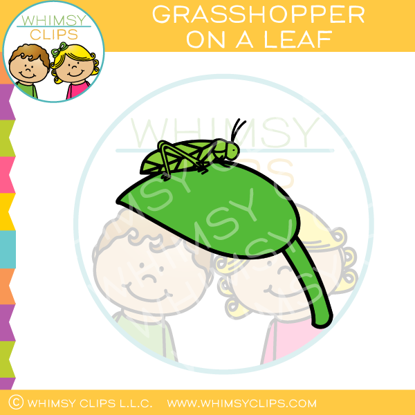 Grasshopper On A Leaf Clip Art
