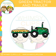 Green Farm Tractor And Trailer Clip Art