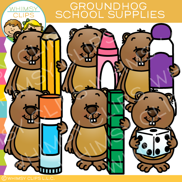 Groundhog School Supplies Clip Art