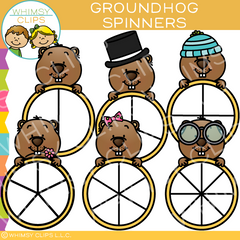 Groundhog Spinners Clip Art