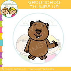 Groundhog Thumbs Up Clip Art