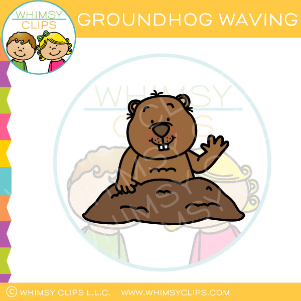 Groundhog Waving Clip Art