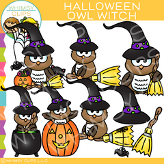 Halloween Owl Witch Clip Art