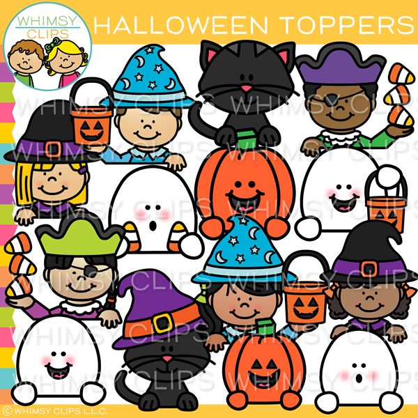 Cute Halloween Toppers Clip Art