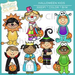 Halloween Kids in Costumes Clip Art