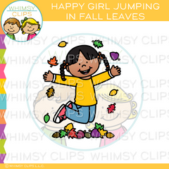 Happy Girl Jumping In Fall Leaves Clip Art