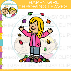Happy Girl Throwing Fall Leaves Clip Art