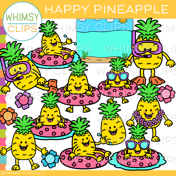Happy Beach Pineapple Clip Art