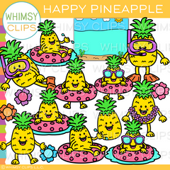 Happy Pineapple Clip Art