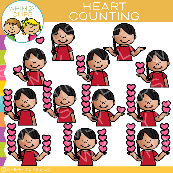 Kid Counting Hearts Clip Art