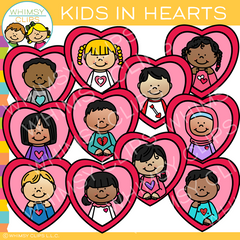 Kids in Hearts Valentine Clip Art