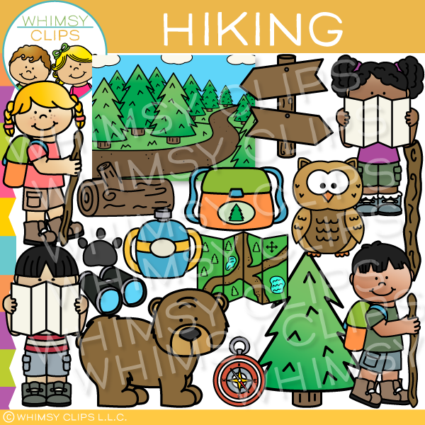 Kids Hiking Clip Art