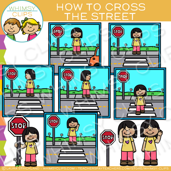 How to Cross the Street Safety Clip Art