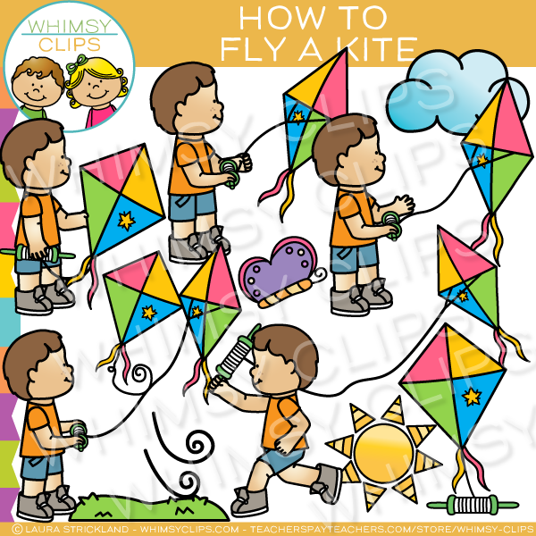 Spring Fly a Kite Clip Art