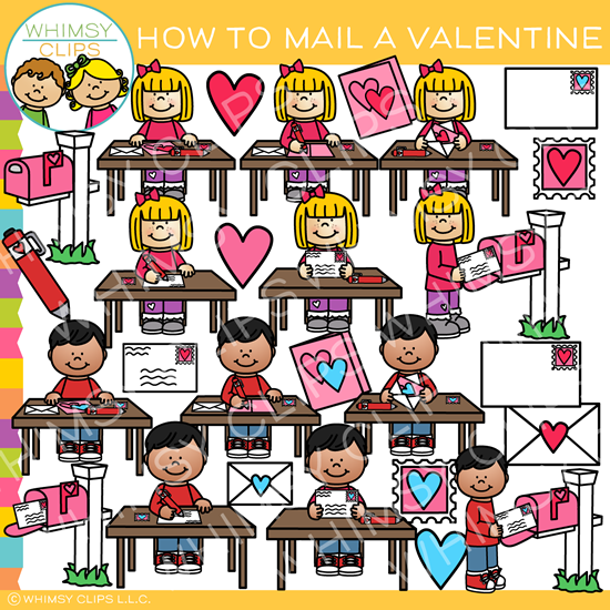 How to Mail a Valentine Clip Art