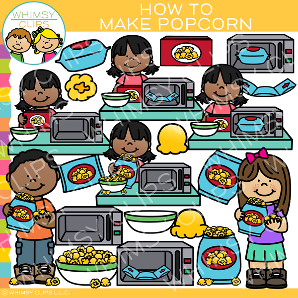 Kids Learn How to Make Popcorn Clip Art