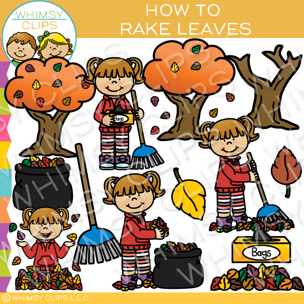 How to Rake  Leaves Clip Art