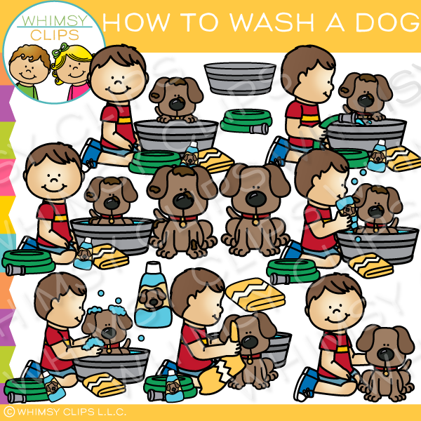 Boy Washing a Dog Clip Art