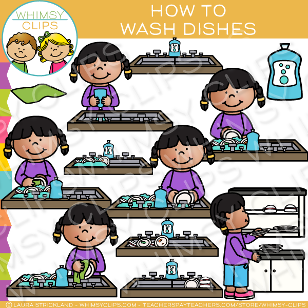 How to Wash Dishes Sequencing Clip Art