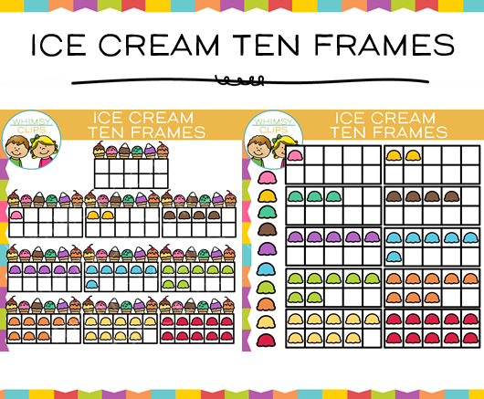 Ice Cream Ten Frame Clip Art