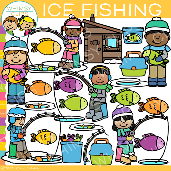Winter Ice Fishing Clip Art