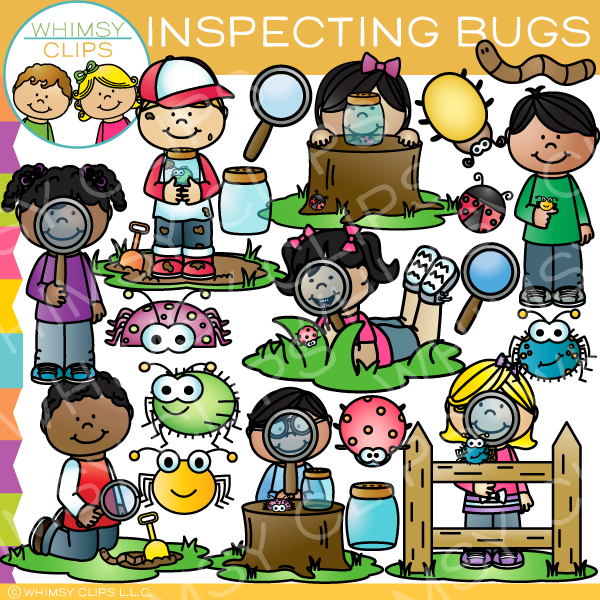 Kids Inspecting Bugs Clip Art
