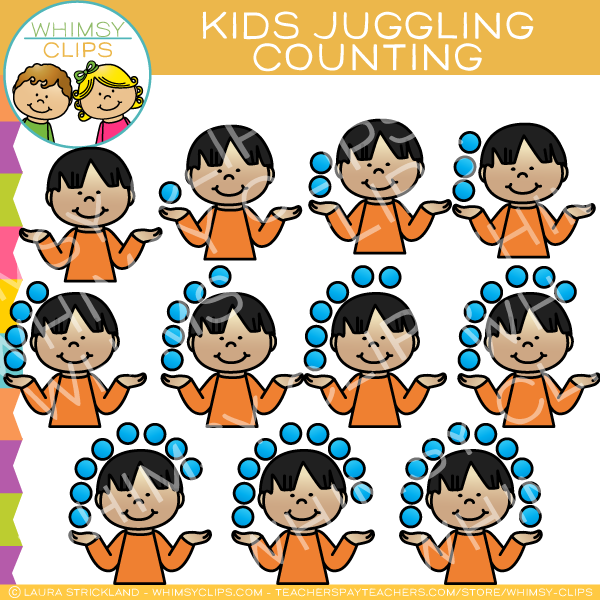 Kids Juggling Counting Clip Art