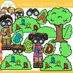 Hunting for Letters in the Jungle Clip Art
