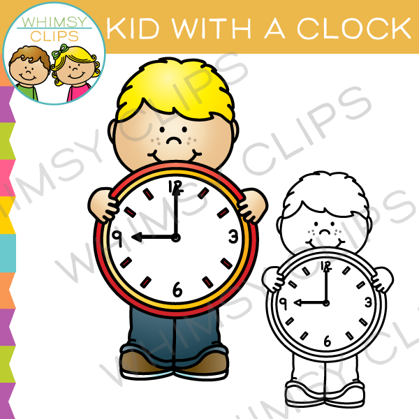 Kid with a Clock Clip Art