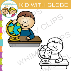 Kid with Globe Clip Art