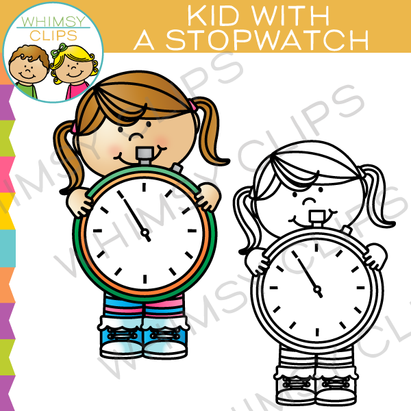 Kid with a Stopwatch Clip Art