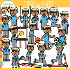 Kids In Action - Islamic Boy Clip Art