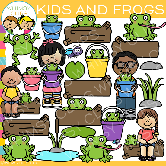Outdoor Kids and Frogs Clip Art