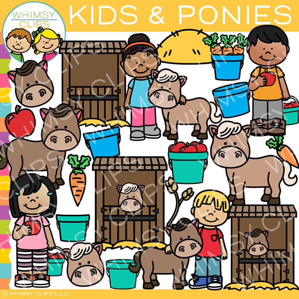 Kids with Ponies Clip Art