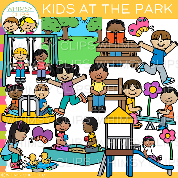 Kids at the Park Clip Art